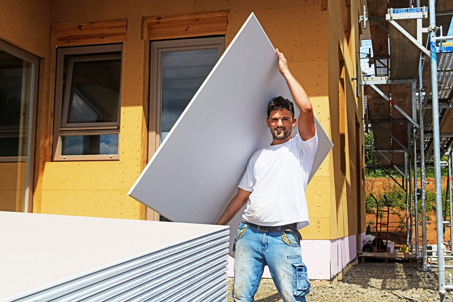 Fetching a plaster board
